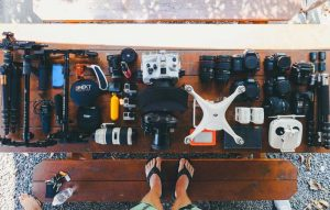 camera gears flatlay